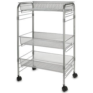 "3-Shelf Mesh Wire Rolling Cart 4x Caster Wheels Chrome Silver Finish Easy Assembly 24.5""H x 10.5""W x 16.5""D"