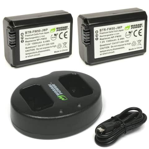 Wasabi Power Battery 2-Pack and Dual Charger for Sony NP-FW50 Batteries - Black