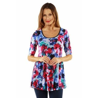 24/7 Comfort Apparel Color and Casual Tunic Top