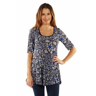 24/7 Comfort Apparel Blue Magic Tunic Top