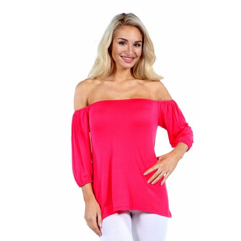 24/7 Comfort Apparel Sweetheart Off Shoulder Tunic Top