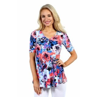 24/7 Comfort Apparel Country Club Casual Floral Tunic Top