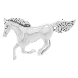 Carolina Glamour Collection Sterling Silver Running Mustang Horse Brooch Pin