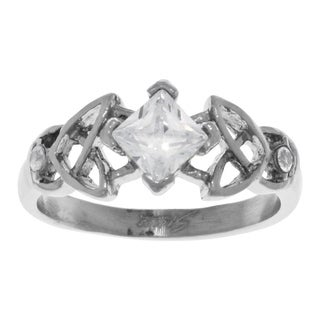 Jewelry Trends Stainless Steel Cubic Zirconia Celtic Trinity Knot Ring - White