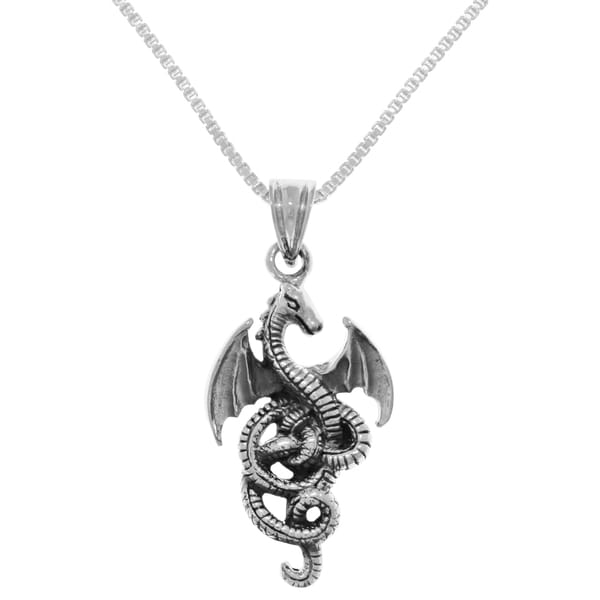 Necklaces Mens Sterling Silver Flying Dragon Pendant On A Black Leather Cord Necklace