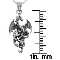 Sterling Silver Flying Wing Dragon Pendant on Box Chain Necklace