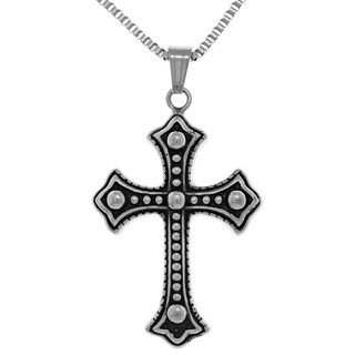 Jewelry Trends Stainless Steel Large Ball Stud Gothic Cross Pendant on 22-inch Box Chain Necklace
