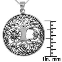 Sterling Silver Sun Moon Tree of Life Pendant and Box Chain Necklace