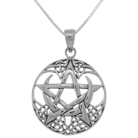 Sterling Silver Pentagram Moon Celtic Pendant on Box Chain Necklace