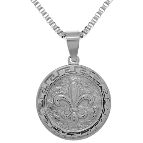 Jewelry Trends Stainless Steel Fleur De Lis Pendant on 22-inch Box Chain Necklace