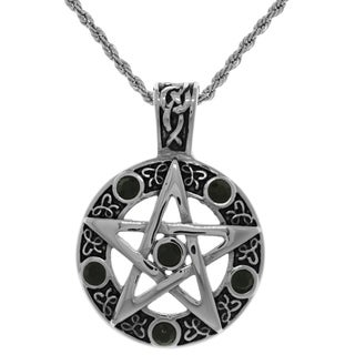 Jewelry Trends Stainless Steel and Black Cubic Zirconia Celtic Pentagram Pendant