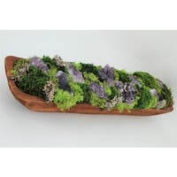 Amethyst and Organic Preserved Moss Garden in Hand-carved Wood Log