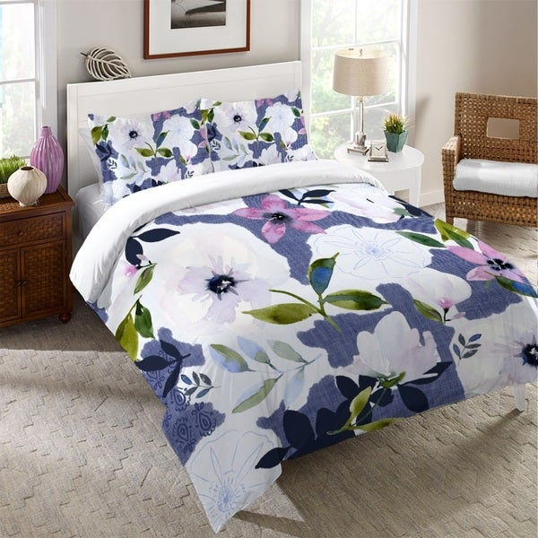 Laural Home Denim Floral Dreams Duvet Cover