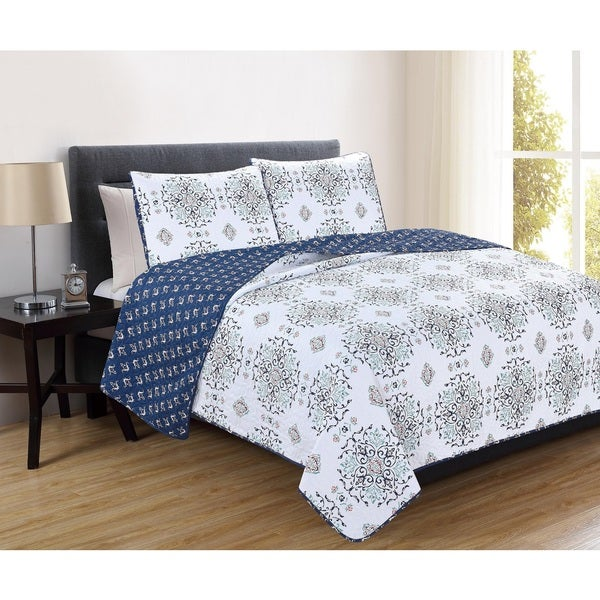 Home Fashion Designs Portia Collection 3-Piece Printed Quilt Set