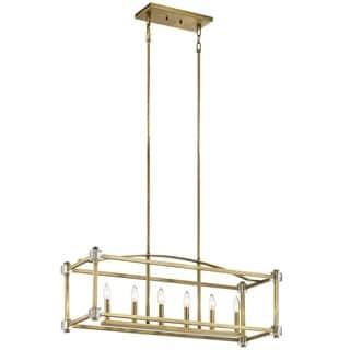 Kichler Lighting Cayden Collection 6-light Natural Brass Linear Chandelier