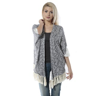 Jed Women's 3/4-sleeve Cardigan with Tassels and Back Lace Detail