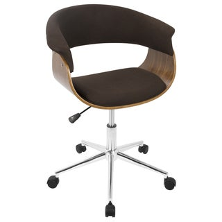 Vintage Mod Mid-Century Modern Upholstered Office Chair in Walnut Wood
