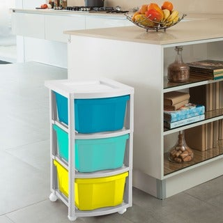 Rimax Three Drawer Multi-Colored Storage Cart