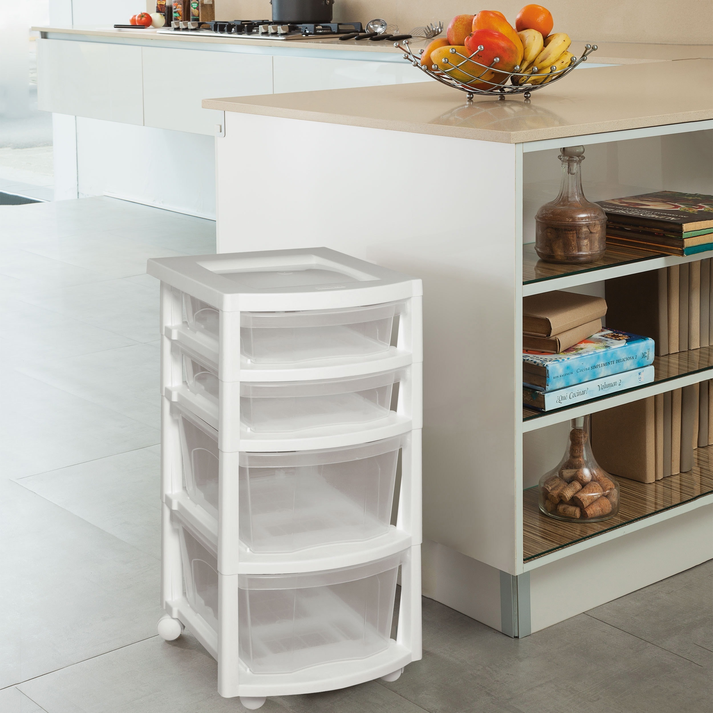 Rimax Four Drawer Clear Rolling Storage Cart (White/clear...