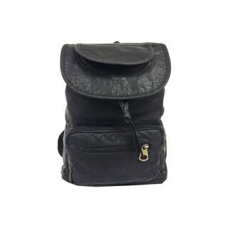 Alfa Black Washed Faux Leather Fashion Backpack