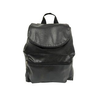 Alfa Washed Black Faux Leather Fashion Backpack