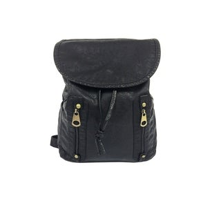 Alfa Black Washed Faux-leather Fashion Backpack