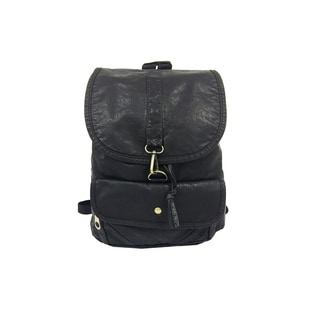 Alfa Black Faux Leather Washed Fashion Backpack