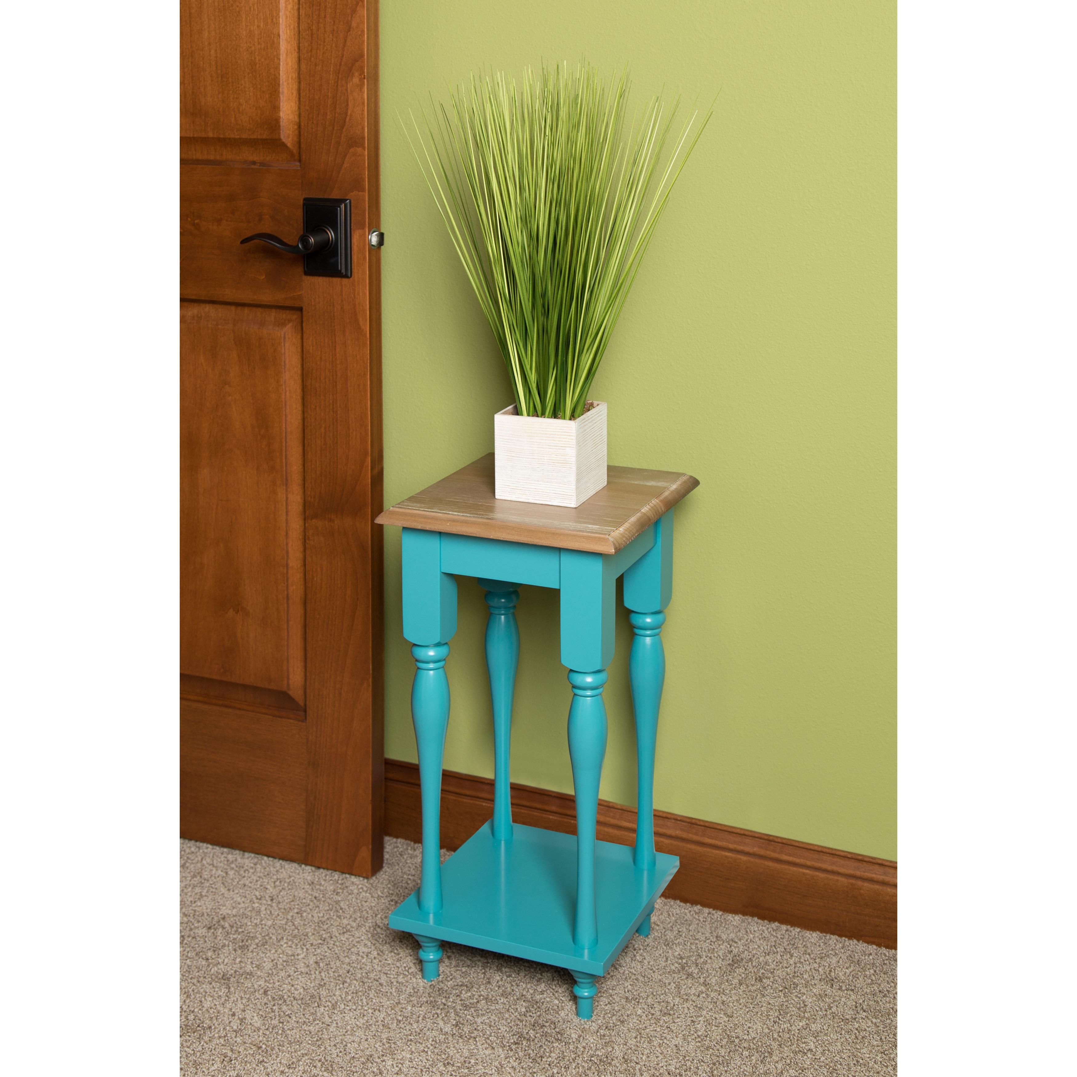Kate and Laurel Sophia Wood Plant Stand End Table (Brown)...