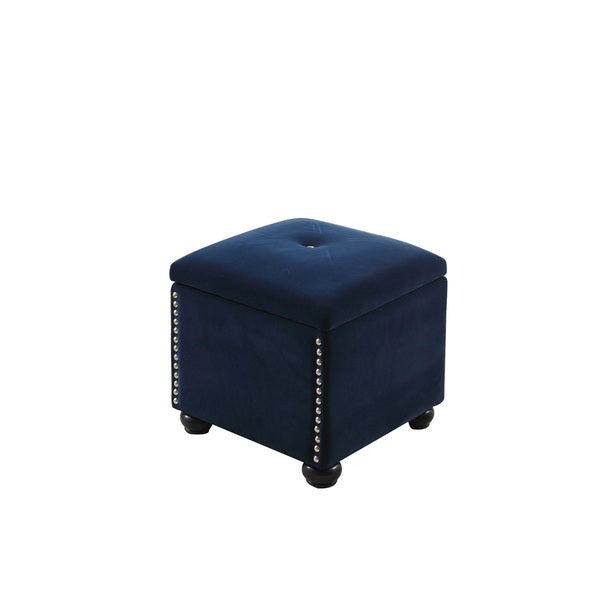 Shop Suede Tufted Storage Ottoman Free Shipping Today