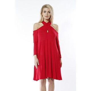 JED Women's Red Knit Off-shoulder Long-sleeve Keyhole Neckline Dress