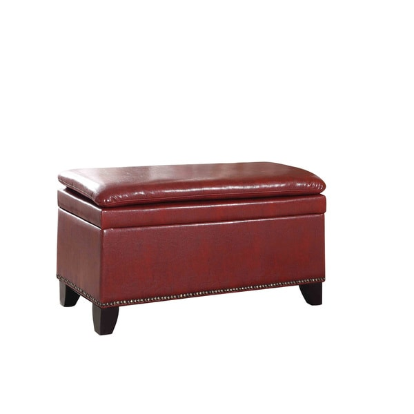 Nailhead Trim Double Cushion Bonded Leather Storage Ottoman