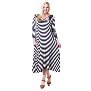 JED Women's Soft Fabric Striped Plus Size Quarter Sleeve Midi Dress