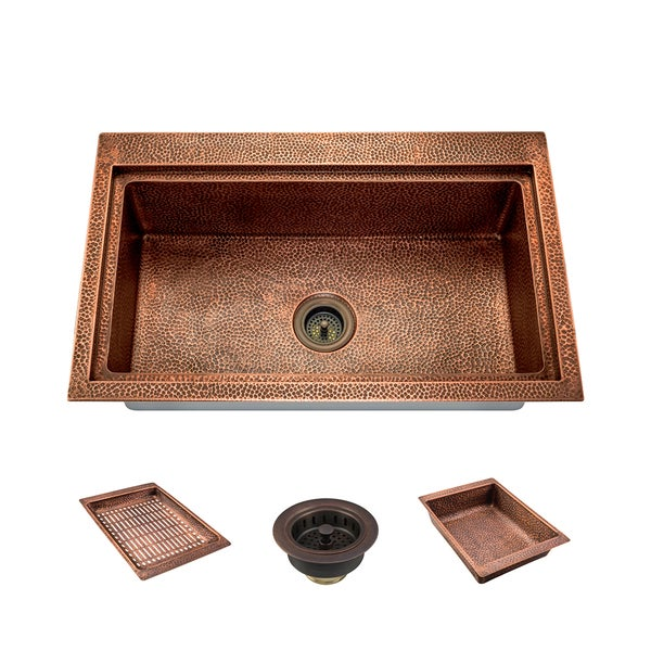 915 Single Bowl Dual-Mount Copper Sink Ensemble
