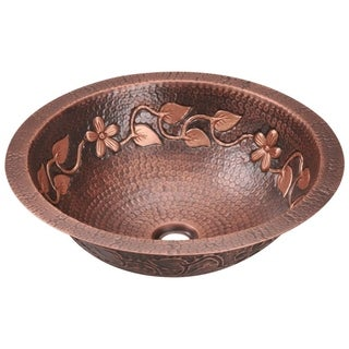 MR Direct 923 Antique Bronze Copper Vessel Bathroom Sink with Faucet and Grid Drain