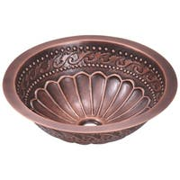 924 Single Bowl Copper Bathroom Sink with Faucet and Grid Drain in Antique Bronze