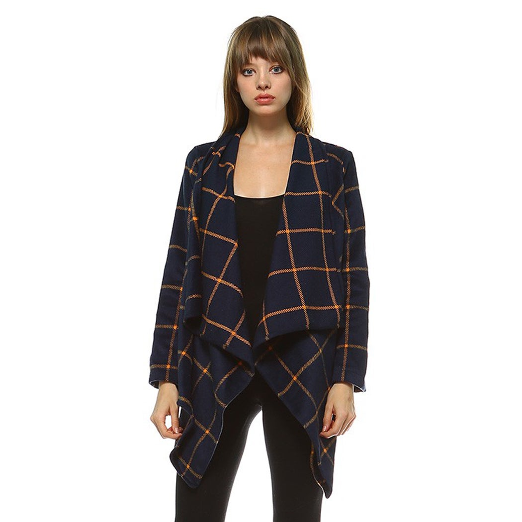 JED Women's Check Pattern Draped Cardigan Jacket (Red - S)
