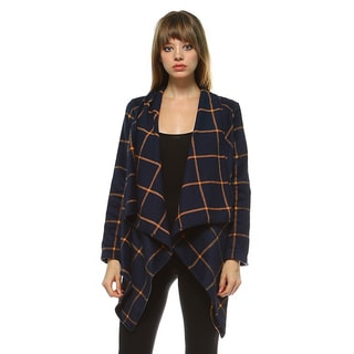 JED Women's Check Pattern Draped Cardigan Jacket (Option: Blue)
