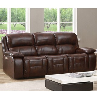 Hydeline By Amax Westminster II Top Grain Leather Brown Power Reclining Sofa  With Articulating Headrest
