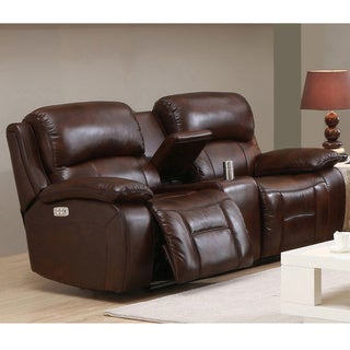 Hydeline by Amax Westminster II Top Grain Leather Brown Power Reclining Loveseat witha Articulating Headrest