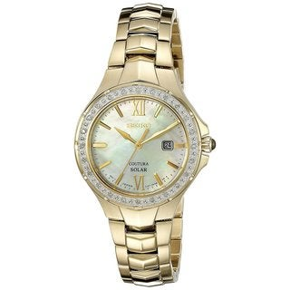Seiko SUT242 Ladies Coutura Solar Powered Stainless Steel and Diamond Watch