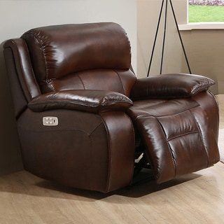 Hydeline by Amax Westminster II Top Grain Leather Power Recliner with Articulating Headrest