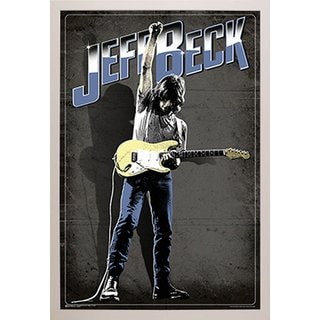 White Simply Poly Frame 24-inch x 36-inch Jeff Beck Music Print Wall Art
