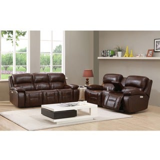 Hydeline by Amax Westminster II Top Grain Leather Brown Power Reclining Sofa and Loveseat with Articulating  sc 1 st  Overstock.com & Power Recline Sofas Couches u0026 Loveseats - Shop The Best Deals for ... islam-shia.org