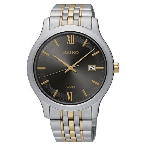 Seiko Men's SUR231 Stainless Steel Two Tone Watch with a Date Window.
