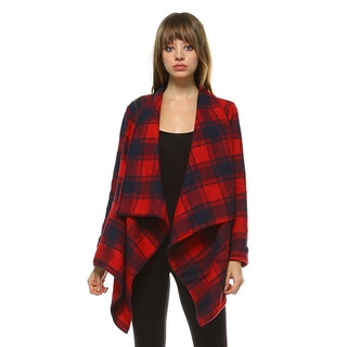 JED Women's Plaid Patterned Long-sleeved Cardigan Jacket