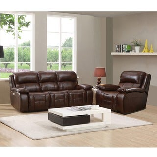 Hydeline by Amax Westminster II Top Grain Leather Brown Power Reclining Sofa and Recliner Set with Power Headrest