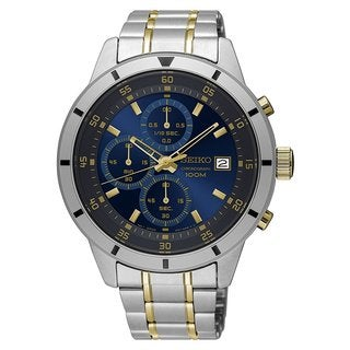 Seiko SKS581 Men's Blue Dial Stainless Steel Chronograph with Date