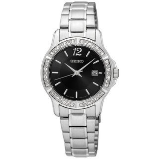Seiko SUR719 Ladies Stainless Steel Crystal Adorned Watch with Date