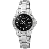 Seiko Women's  Stainless Steel Crystal Adorned Watch with Date