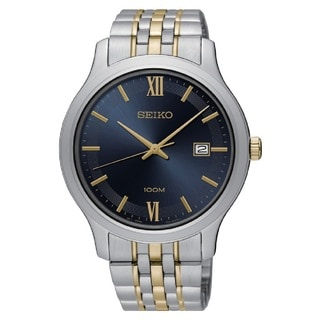 Seiko SUR229 Men's Blue Dial 100M water resistant Stainless Steel Watch with Date